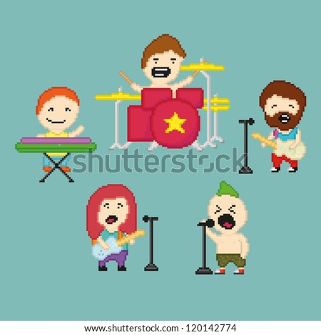 Set of icons on rock band theme in pixel art style, vector illustration - stock vector