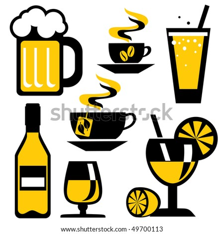 set of icons on the drink and beverages. Vector icons in two colors - stock vector