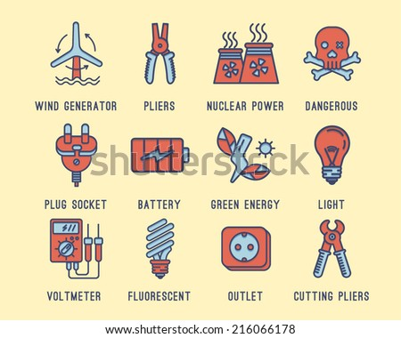 Set of icons on the theme of electricity.Wind generator, battery, green energy, lighting, voltage meter, nuclear power plant, wall socket, plug. Caution high voltage. - stock vector