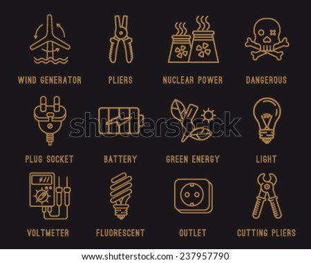 Set of icons on the theme of electricity.Wind generator battery green energy & Set Icons On Theme Electricitywind Generator Stock Vector ... azcodes.com