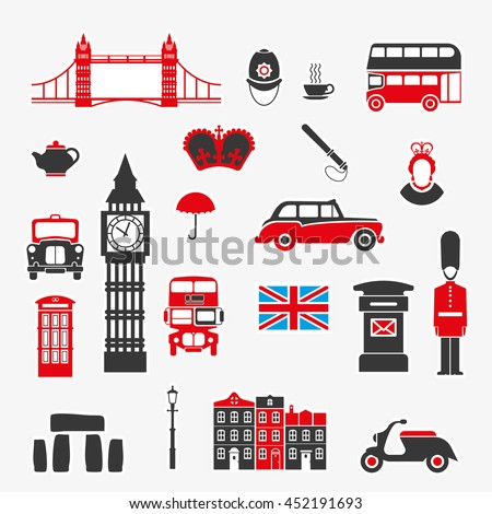set icons on theme england kingdom stock vector royalty free