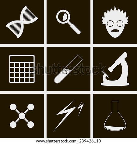 set of icons on theme science