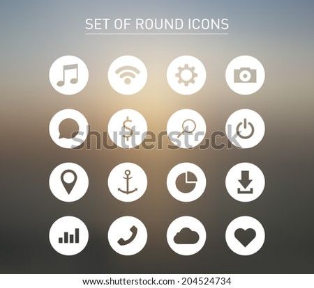 Set of icons over blurred background for smartphones, tablets, devices, user interface, applications. Music, wifi, settings, camera, chat, search, map, download, cloud. Clean and modern syle design - stock vector