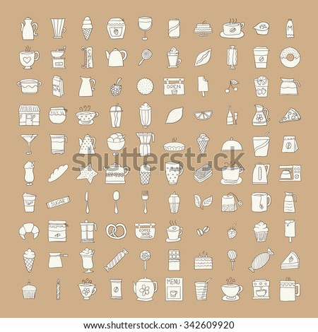 Set of icons painted by hand, coffee, tea and sweets. Beige icon with a dark outline on a dark beige background - stock vector