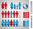 Set of icons - people population - element for design - vector illustration - stock photo