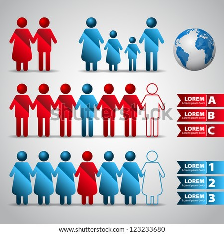 Set of icons - people population - element for design - vector illustration