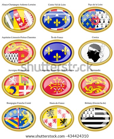 Set of icons. Regions of France flags.    - stock vector