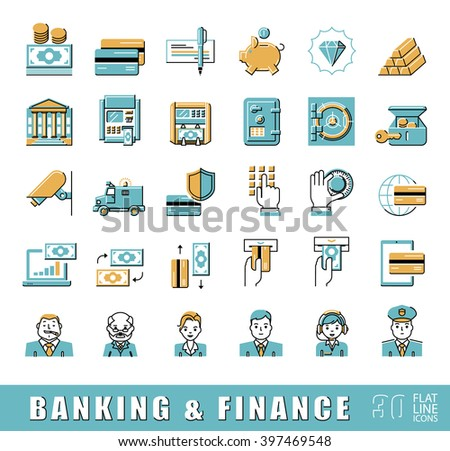 Set of icons related to finance and banking. Vector illustration. Collection of premium quality flat line icons.