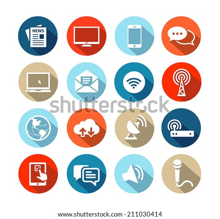 Set of icons representing media and broadcasting in flat design style - stock vector