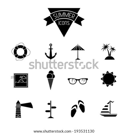 Set of 12 icons. Sea summer icons for your design isolated on white background. Black and white illustration. - stock vector