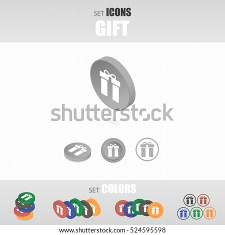 Set of icons. Several types of icons. Different color options. Vector illustration.