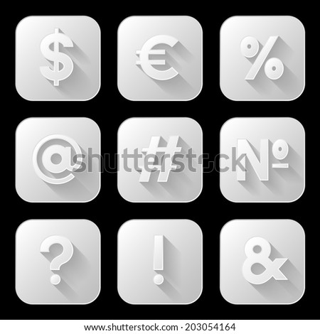 Set of icons. Signs and symbols. Vector illustration.  - stock vector