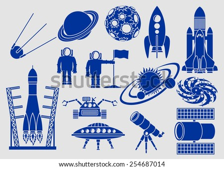 Set of icons, space ships, planets, rockets, astronauts, etc - stock vector