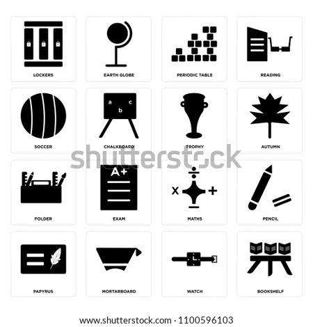 Set Of 16 Icons Such As Bookshelf Watch Mortarboard Papyrus Pencil