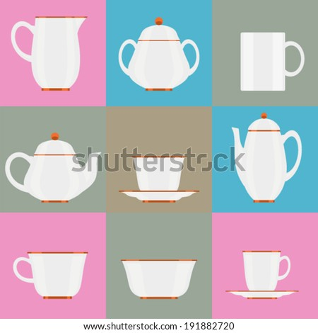 set of icons - tea set - tea and coffee cups and pots, sugar bowl, package candy, mug, saucer - stock vector - stock vector