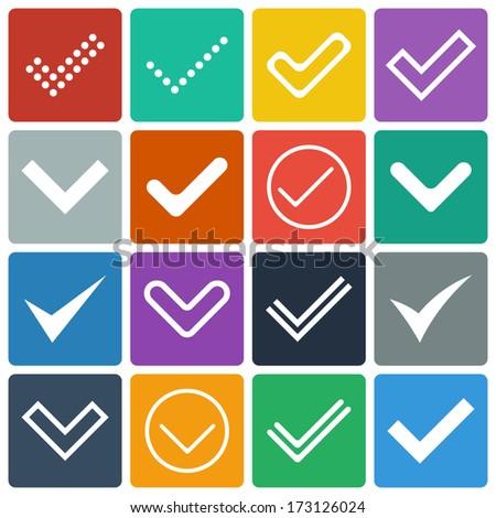 Set of icons, ticks, check marks. Flat design. Vector illustration - stock vector
