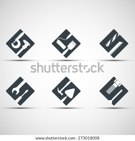 Set of icons tool. Vector image. - stock vector