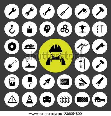 Set of icons vector illustration eps10 : Construction tools icons. - stock vector