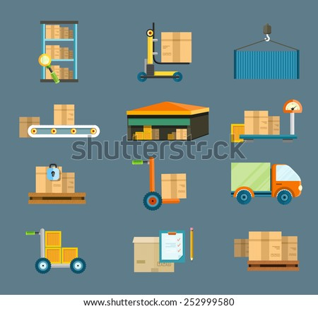Set of icons warehouse distribution delivery in different locations. The technique works with boxes parcels. Delivery shipping concept in flat design - stock vector
