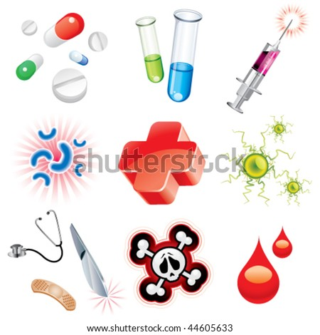 Set of icons which contains medical items - stock vector