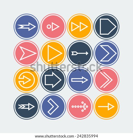 Set of icons with arrows - stock vector