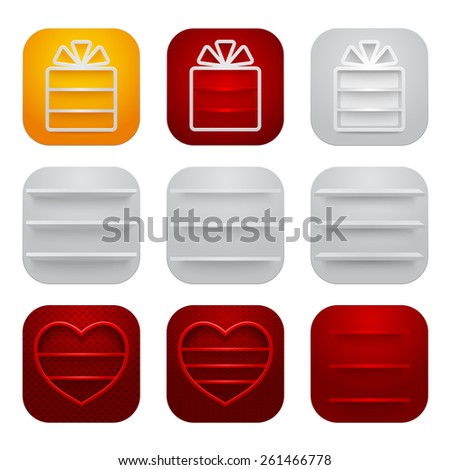 Set of icons with blank shelves. Vector illustration. - stock vector