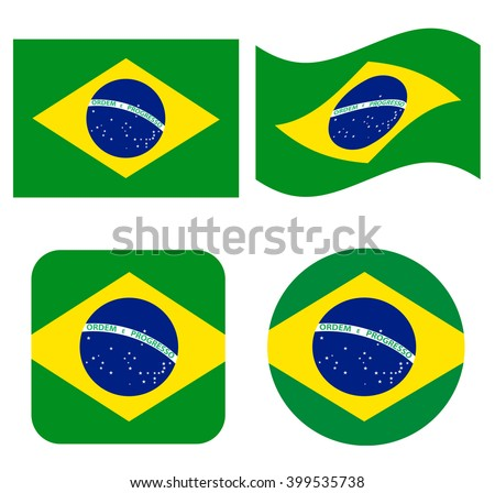 Set of icons with Brazil flag - stock vector