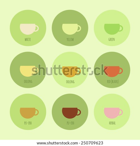 Set of icons with cups of chinese and herbal tea. Vector elements