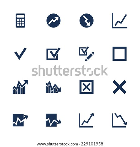 Set of icons with diagrams in flat style - stock vector