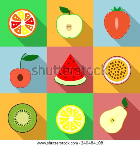 Set of icons with different fruits .  - stock vector