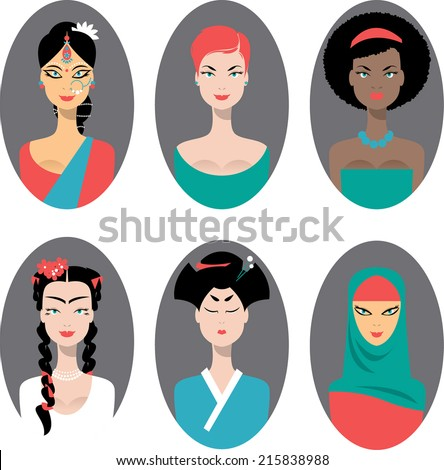 Set of icons with different women. Vector illustration - stock vector