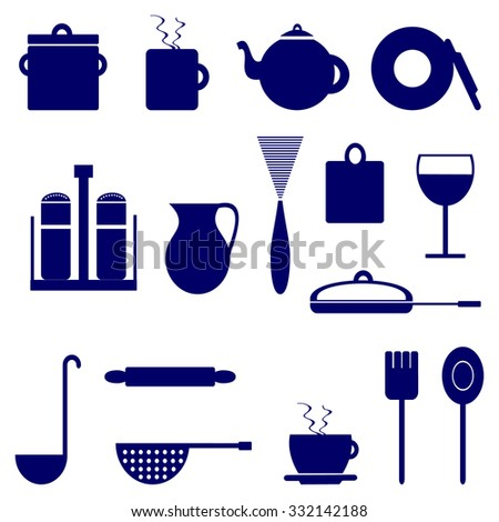 Set of icons with elements of kitchen utensils, blue color on a white background