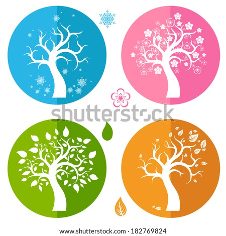Set of icons with four trees - stock vector