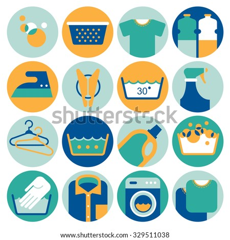 Set of 12 icons with laundry service symbols and domestic chores silhouettes. - stock vector