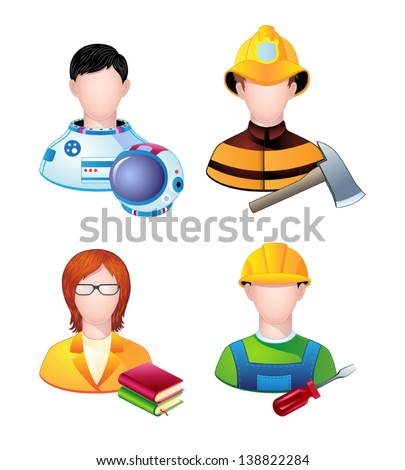 Set of icons with people profession. Vector. - stock vector