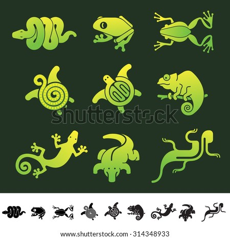 Set of 9 icons with reptiles and frogs silhouettes.