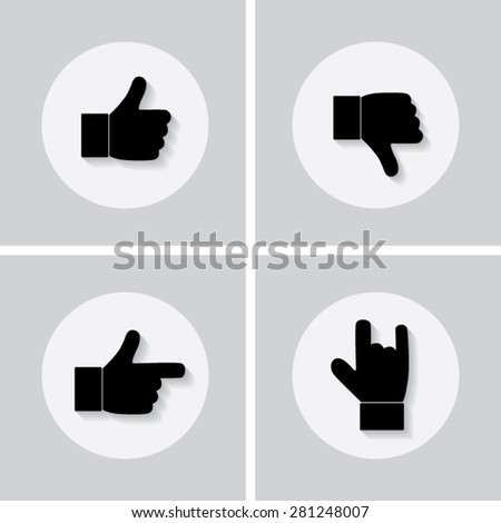 Set of icons with shadow vector illustration eps10 : Hand symbols.