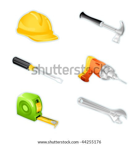 Set of icons with tools - stock vector