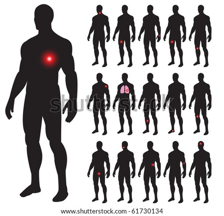 Set of illness people with pain dots. Vector illustration.