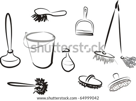 set of illustrated mops and cleaning stuff - stock vector