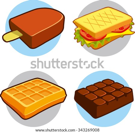 Set of illustration dessert candy and fast food. Vector eps8 - stock vector