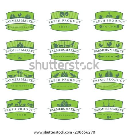 Set of illustration farm labels.Vector - stock vector