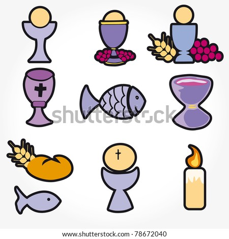Set of Illustration of a communion depicting traditional Christian symbols including candle (light), chalice, grapes (wine), ear, cross and bread - stock vector