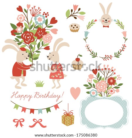 set of illustrations and graphic elements for greeting cards, cute rabbits  - stock vector