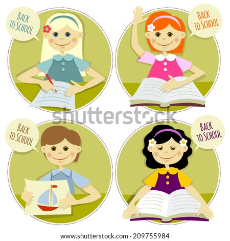 """Set of illustrations """"Back to School"""". - stock vector"""