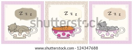 set of illustrations cute sleeping cats in cups - stock vector