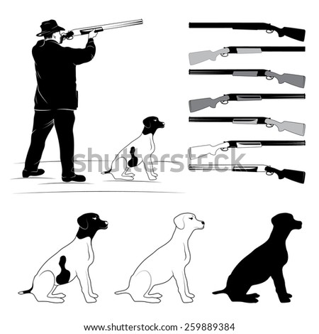 set of illustrations for hunters - stock vector