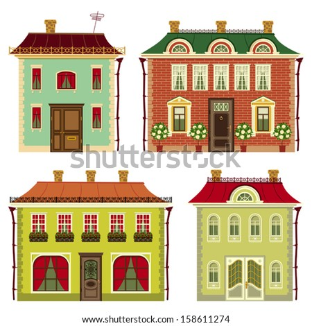 set of illustrations from old houses - stock vector