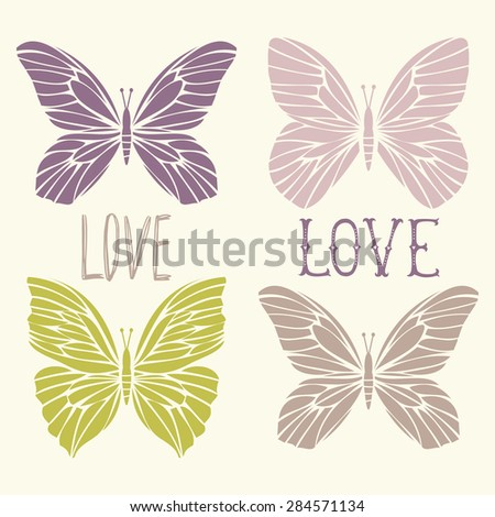 Set of illustrations illustration with butterflies and words. Love