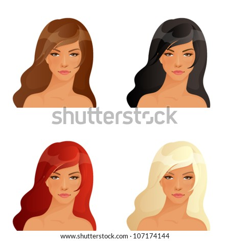 set of illustrations of beautiful women showing different hair colors - stock vector